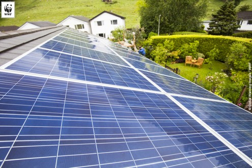 Solar panels on a house in Ambleside, Lake District, UK
